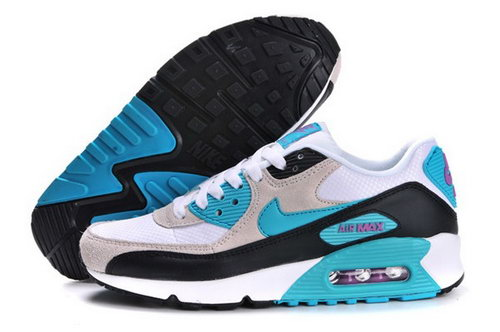 Air Max 90 Womenss Shoes White Light Gray Blue Hong Kong